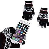 wortek Touchscreen Handschuhe mit Flockenmuster in Schwarz/Grau in der Größe M - L für alle Handys, Smartphones und Tablets