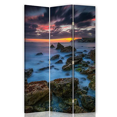 Feeby Pared Española Naturaleza 3 Paneles Bilateral Mar Rocas Cielo Azúl 110x175 cm