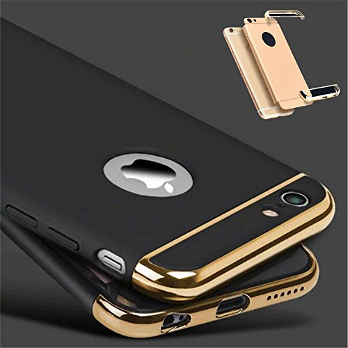 G M Brothers *3-in-1 SHOCKPROOF* Dual Layer Thin Back Cover Case For Apple iPhone 5/5S/SE (Black with Gold)