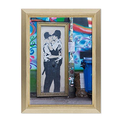 Bild auf Leinwand Canvas-Gerahmt-fertig zum Aufhängen-Banksy-Street Art Dimensione: 50x70cm E - Colore Legno Naturale Design
