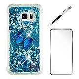 Samsung Galaxy S7 Edge Hülle MISSDU Durchsichtig Silikon TPU Bumper Glitzer Liquid Hülle Bling Luxus Cover + Schutzfolie, Blauer Schmetterling
