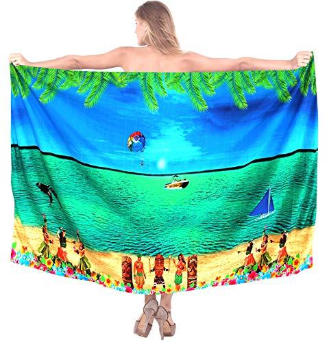 LA LEELA Damen Likre Bademode Kreuzfahrt Sonne Bikini hawaiische Wickelrock Sarong Kleid blau