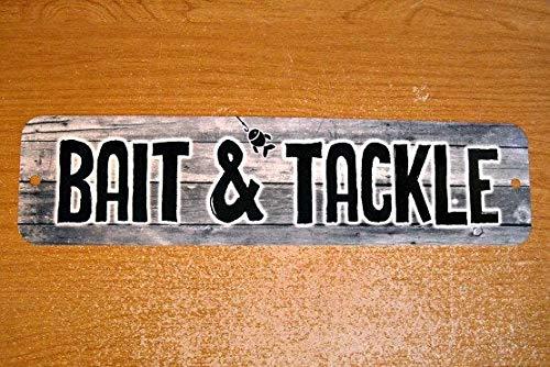 Metal Sign Bait & Tackle Shop Fishing Fisherman Fish Sport Gear Hooks Lines Floats Rods Reels Box Garage Man Cave Wall Plaque -