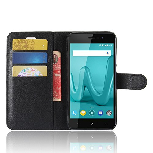 Wiko lenny 4 custodia, smtr wiko lenny 4 wallet case cover leather flip cover magnetic closing anti-shock function with stand - nero
