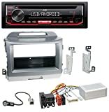 caraudio24 JVC KD-T402 USB AUX MP3 1DIN CD Autoradio für Kia Sportage 3 (ab 10 Navi) Silber