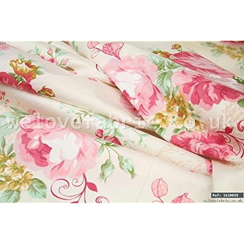 Rosa pallido Rose Vintage 100% cotone tessuto