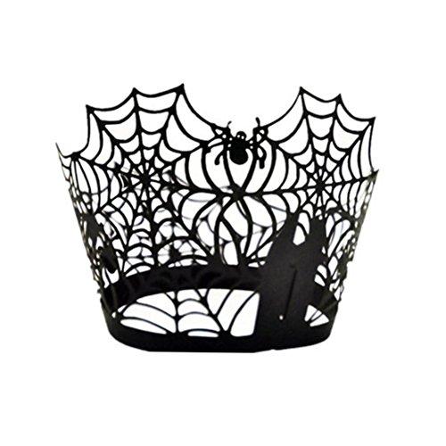 ounona Rolle Banderolen für Muffins Cupcakes Dekoration Halloween Spinnennetz schwarz 50Stück