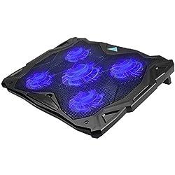 TeckNet Refroidisseurs pour ordinateur portable et de Notebook, équipé de 2 ports USB, adapté pour 12-17 pouces, avec ventilateur silencieux de 3x12cm, 5 angles réglables et une rotation conçue de 360°