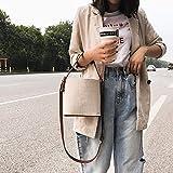 Comaie Borse coulisse borsa secchiello per donne telefono cellulare della bambina del donna spalla di cute Bags wedding maniglia borsetta a tracolla tela moda vintage singolo tracolla con strap Brown