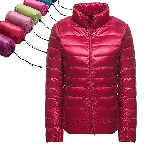 Süssigkeit Farbe Dünn Abschnitt Der Kragen Down Jacket Women Slim Kurzer Absatz Weiblichen Gestanden., XL,Big Red ()