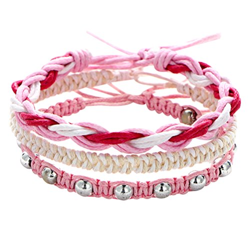LUOEM Multilayer Bracelet Hand Knitting Beads Bracelet Jewery Gift for Women Girls (Pink)