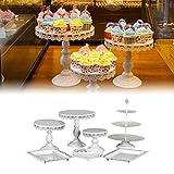 flower205 7 Stüke Tortenständer Kuchenständer aus Hochwertigem Eisen, 3 Etagen Runde Cupcake Standfuß für Süßigkeiten Kekse oder für Obst Geburtstag Hochzeitsfeier - 3