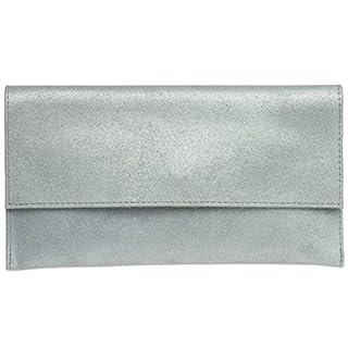 CASPAR TL702 Damen Wildleder/Veloursleder Clutch Tasche mit Handschlaufe, Farbe:silber