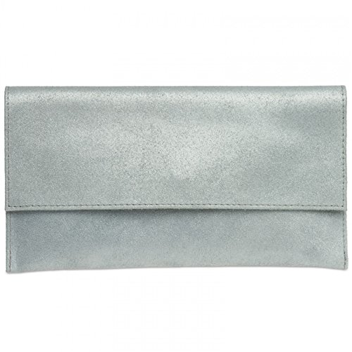 CASPAR TL702 Damen Wildleder/Veloursleder Clutch Tasche mit Handschlaufe, Farbe:silber (Damen Leder Echt Wildleder)
