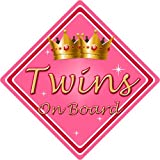 Non Personalised Child/Baby On Board Car Sign ~ Twins On Board ~ Pink