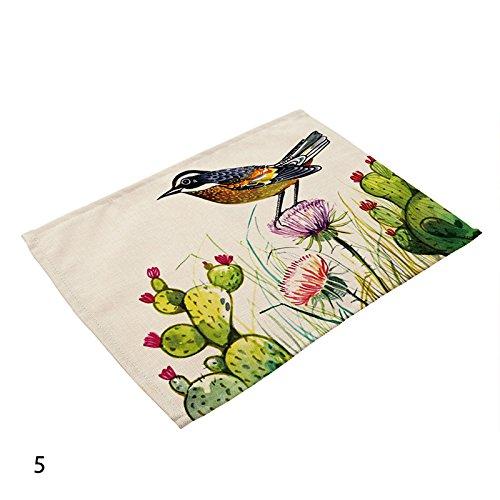 Calistous 42 x 32 cm de cuisine en coton et lin Oiseaux Pad Set de table Tapis de table de salle à manger