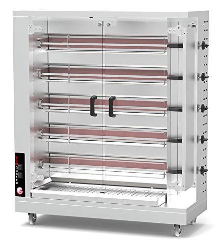 Gas Hähnchengrill PREMIUM mit 5 Spießen für 25 Hähnchen - 1150 x 472 x 1344 mm | Drehgrill | Bratengrill | Rotisserie | Spießbratengrill | Gastro