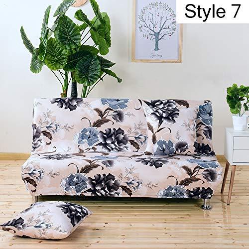 Monba, copertura elasticizzata per divano senza braccioli e divano letto, fodera protettiva con motivo floreale, Poliestere, Style 7, L:160-190cm