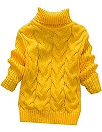 KINDOYO Moda para Niño Niña otoño invierno de Color sólido cuello alto suéter camisa