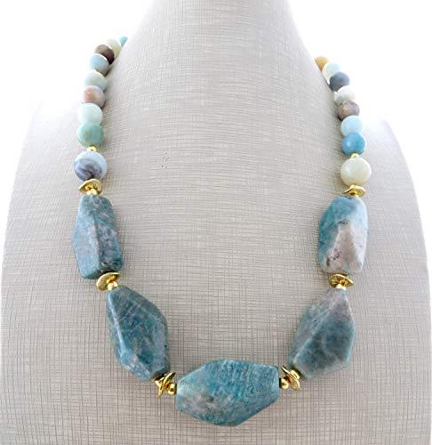 Collana con amazzonite turchese, collana con grandi pietre naturali, gioielli contemporanei, bijoux moderni, bijoux donna, regalo per lei