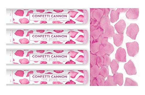 Party Popper I 4 Teile Konfetti Shooter Rosen Blüten pink 40cm I Valentinstag Feiern Liebe Silvester (Feier Poppers)