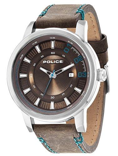 POLICE Herren-Armbanduhr SUNSET Analog Quarz Leder P14375JS-12