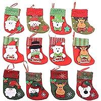 12 Piezas Medias de Navidad Calcetines a Cuadros de Santa Claus Regalo del Caramelo Decoración del