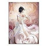 Handgemachte Flamenco Tänzer moderne Sexy Rücken Charakter Wandbild Eindruck Ölgemälde auf Leinwand Home Decor Weiß Kleid, canvas, 24x36inch