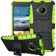 Nnopbeclik [Coque HTC One M9 Plus Neuf] 2in1 Dual Layer Armor Séries Rigide Back Cover Incassable case pour HTC One M9 Plus Coque Silicone [Antichoc] (5.2 Pouce) Protection Hybride en Mélange avec Béquille de Support Intégrée Housse Antiglisse Anti-Scratch Etui - [Vert]