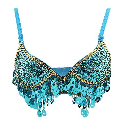 Phenovo Belly Dance Beaded Bra Sequins Top Sexy Dancing Singer Costume Tassels Blue