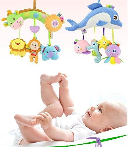 Zantec Kinder Spaziergänger und Reise Tätigkeits Spielzeug, Baby musikalische Bett hängende Spielwaren, Autositz angefüllte Spielwaren mit klingelndem Bell Spiegel Wraps um Krippen Schiene Puppe, Fahrrad Träger