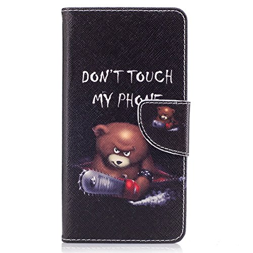 Chreey Nokia 5 Hülle, Bunt Gemalt Magnetverschluss Flip Case Wallet Handyhülle PU Lederhülle Bookcase Brieftasche Kreditkarte Etui Schutzhülle [Bär - Don't Touch My Phone]