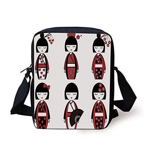 Asian Geisha Dolls in Folkloric Costumes Outfits Hair Sticks Kimono Art Image,Black Red Print Kids Crossbody Messenger Bag Purse ()
