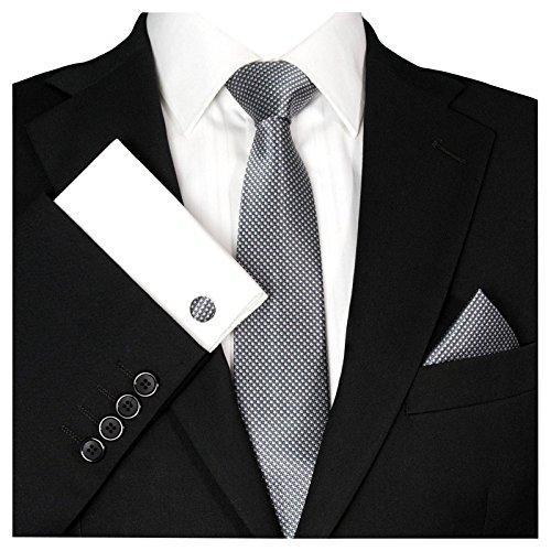 GASSANI GASSANI Herrenkrawatte Krawattenset Dunke-Graue Karo-Muster, Schmale Skinny Slim Hochzeitskrawatte Herrenschlips Einstecktuch Manschettenknöpfe