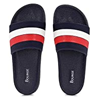 Bourge Men's Canton-41 White, Red and Navy Sliders-8 UK (42 EU) (9 US) (Canton-41-08)