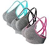 NOVECASA Reggiseno Sportivo da Donna 3 Pezzi per Fitness Yoga Che Funziona Comoda Palestra Senza Fili Senza Cuciture con Pad Rimovibili 3-Pack,Vari Colori Opzionali (M, Blu-Nero-Rosso)