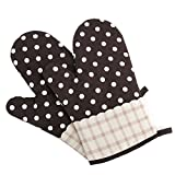 Panegy Hitzebeständig Ofenhandschuhe Verdickte Backhandschuhe Topfhandschuhe Topflappen, Isolierte Grillhandschuhe aus Baumwoll, 1 Paar, Gepunkte