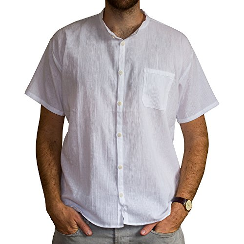 Price comparison product image Tumia LAC - Grandad Shirt - Short Sleeves - 100% Cotton - White XL
