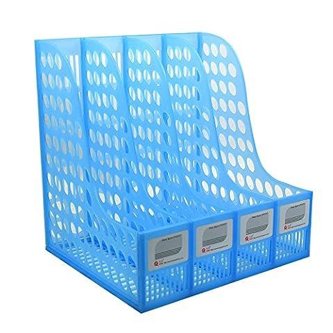 jlysheng Document du Bureau d'épaisseur 4 Bar grand dossier de fichiers de stockage de fichier fichier pigeonhole colonne panier,4 fils (bleu)