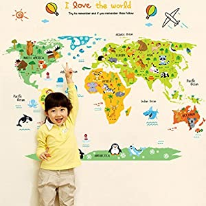Missley Inglés letras mapa del mundo Decalques de pared PVC pegatinas Waterproof Wall Stickers para paisajismo estudio murales decoración