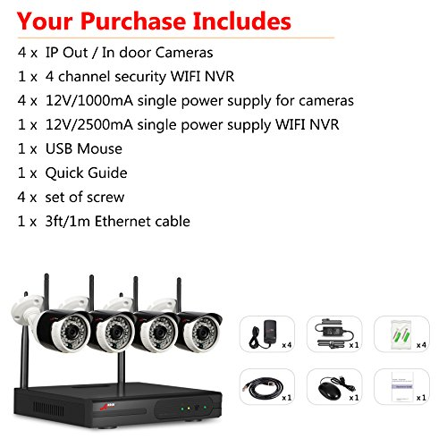 For Sale ANRAN Wireless Home Security Camera System with 720P Night Vision Weatherproof 720P IP Outdoor Surveillance Cameras Kit NO HDD Plug and Play on Amazon