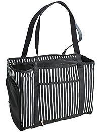 Yatek Bolso transportin para perros y gatos con malla protectora interior y apertura lateral de color blanco y negro