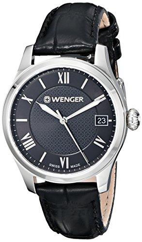 WENGER WOMEN'S 34MM BLACK CALFSKIN BAND STEEL CASE SWISS QUARTZ WATCH 0521.104