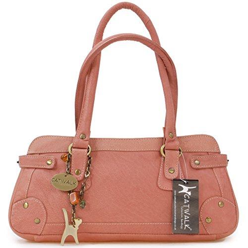 """Lederhandtasche """"Carnaby"""" von Catwalk Collection - GRÖßE: B: 33 H: 13 T: 9 cm Rosa"""