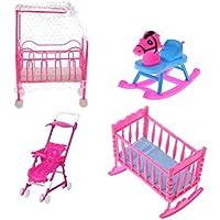 Gazechimp 1 Set de Muebles Rosa Cama con Cuna + Caballo Oscilante + Cama Mecedora + Cochecito para Barbie Kelly Muñeca