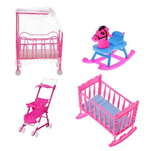 Gazechimp 4pcs/Satz Pink & Blau Puppenhaus Schlafzimmer Möbel aus Kunststoff Für Barbie Kleine Schwester Kelly Puppen ( Kinderbett + Schaukelbett + Schaukelpferd + Kinderwagen ) (Blau-bett-satz)
