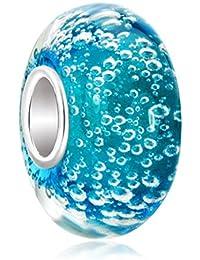 Perle Murano bleue avec bulles en argent sterling 925 pour bracelets de type Pandora/Chamilia