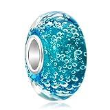 Blau Murano Glas Perlen Charm Sterling-Silber 925 für Pandora/Chamilia Charm-Armband