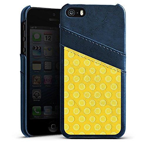 Apple iPhone 5 Housse étui coque protection Citrons Été Fruits Étui en cuir bleu marine