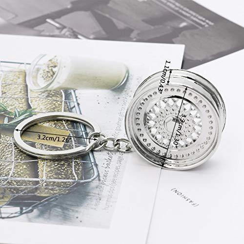 YiFeiCT Cool de Luxe en métal de Voiture Porte-clés de Jante Auto créatif Modèle de pièce Porte-clés Bague